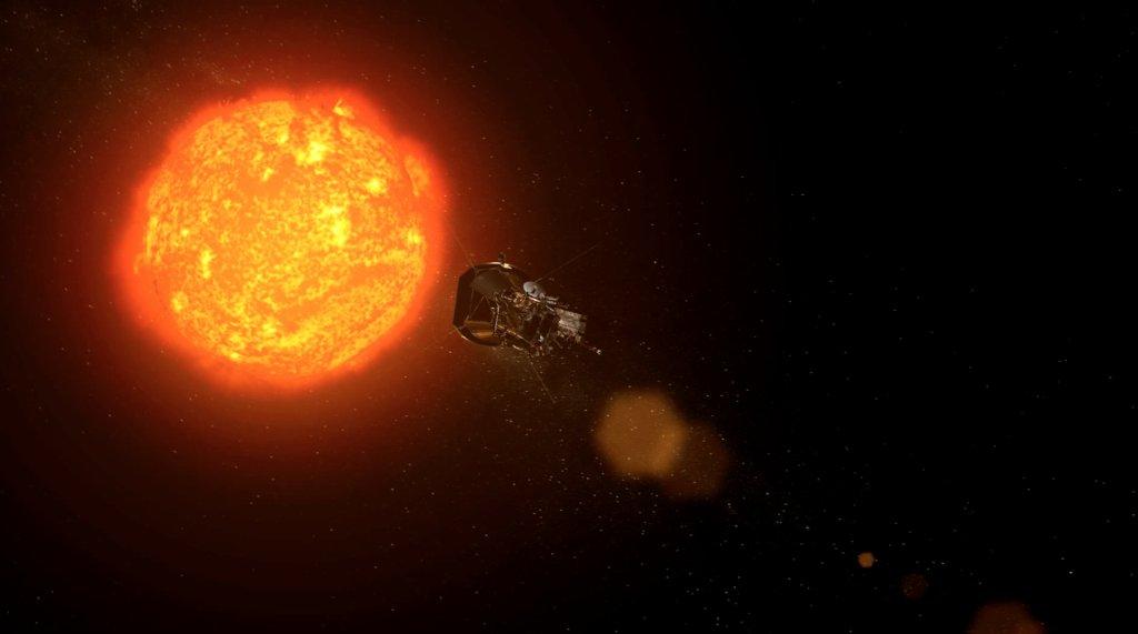 Изборажение-концепт полета аппарата NASA к Солнцу