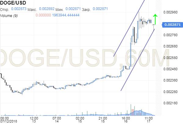 График движения DOGE/USD после выхода новости о добавлении в приложение Robinhood