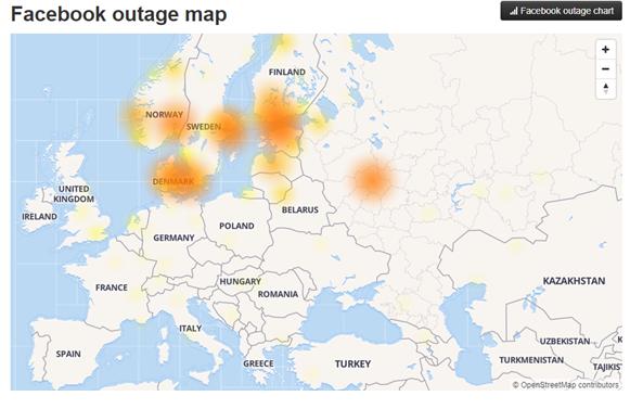 Facebook и Instagram работают со сбоями. Карта Down detector