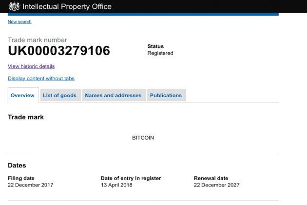 В Великобритании зарегистрирован товарный знак Bitcoin