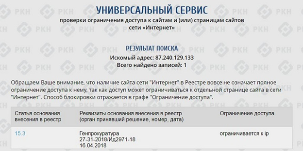 Роскомназдор блокирует «Яндекс», «ВКонтакте», «Одноклассники», Facebook и Twitter